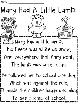A+ Mary Had A Little Lamb Comprehension For Guided Reading