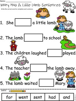 A+ Mary Had A Little Lamb Sentences: Fill In The Blank