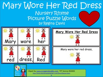 A+ Mary Wore Her Red Dress: Picture Puzzle Words
