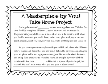 A Masterpiece by You: Take Home Activity
