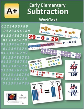 """""""A+ Math"""" Elementary Subtraction Lessons, Worksheets & Ans"""