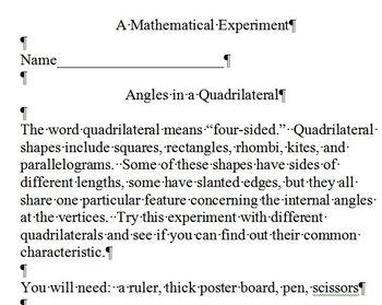 A Math Experiment with Quadrilaterals