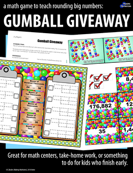 A Math Game to Teach Rounding Big Numbers:  GUMBALL GIVEAWAY