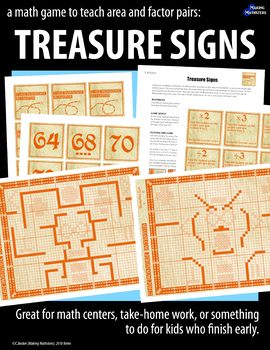 A Math Game to Teach Area and Factor Pairs:  TREASURE SIGNS