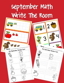 A Math September Themed Write the Room
