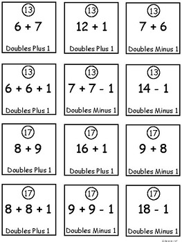 A+ Math Strategies Memory Game: Doubles Plus One, Doubles Minus One...4 Levels