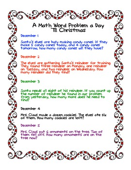 How Many More Days Til Christmas.A Math Word Problem A Day Til Christmas