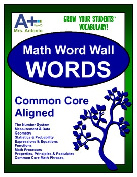 A+ Math Word Wall - Common Core Aligned for Middle & High