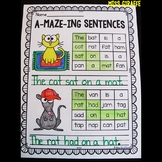 A-Maze-ing Sentences BUNDLE (Year Set of Sentence Building Phonics Worksheets)