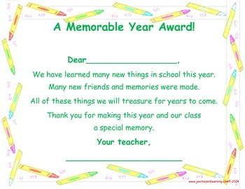 End of the Year--A Memorable Year Award!  (Certificates)