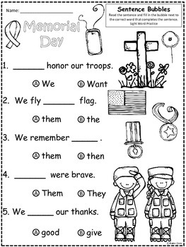 A+ Memorial Day FREEBIE: Fill In the Blank.Multiple Choice Sight Word Sentences