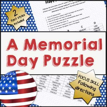 A Memorial Day Puzzle (Following Directions)