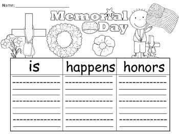 A+ Memorial Day  ... Three Graphic Organizers