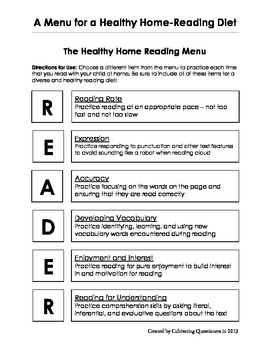 A Menu for a Healthy Home-Reading Diet: A Guide for Home Literacy Experiences