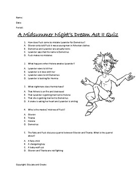 A Midsummer Night S Dream Act 2 Quiz By Educate And Create Tpt