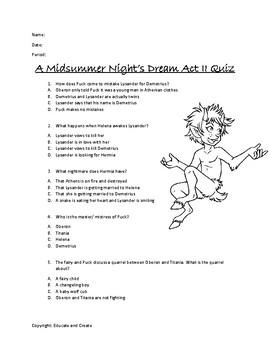 A Midsummer Night's Dream Act 2 Quiz