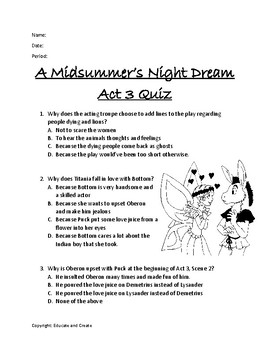 A Midsummer Night S Dream Act 3 Quiz By Educate And Create Tpt