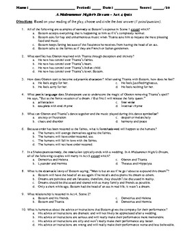 A Midsummer Night S Dream Multiple Choice Worksheets Teaching
