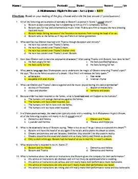A Midsummer Night's Dream Act 4 Multiple Choice and Short Answer Quiz