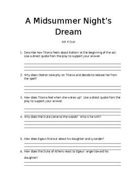 A Midsummer Night's Dream Act 4 Quiz