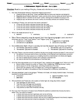 A Midsummer Night's Dream Act 5 Multiple Choice and Short Answer Quiz