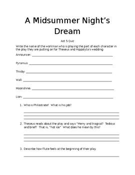 A Midsummer Night's Dream Act 5 Quiz