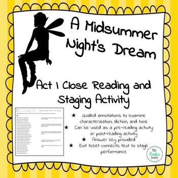 A Midsummer Night's Dream Act I Guided Close Reading and Staging Activity