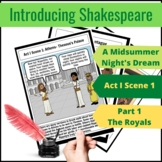 """A Midsummer Night's Dream- Act I Scene 1- Part 1- """"The Royals""""-Comic Strip"""