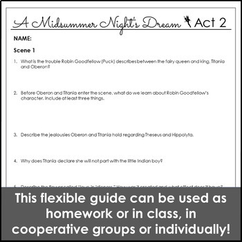 A Midsummer Night's Dream Act II Reading Guide & Activities