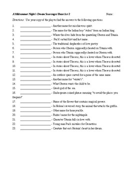 A Midsummer Night's Dream Act II Scavenger Hunt with Key