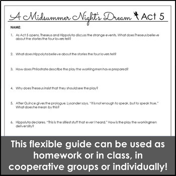 A Midsummer Night's Dream Act V Reading Guide & Study Guide