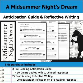 A Midsummer Night's Dream - Anticipation Guide & Written Reflection