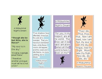 A Midsummer Night's Dream Bookmarks