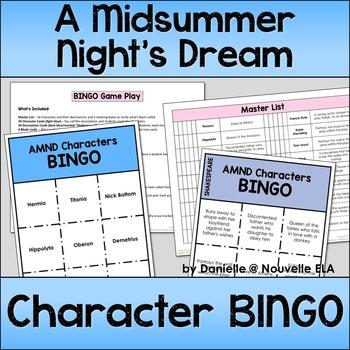 A Midsummer Night's Dream Character BINGO
