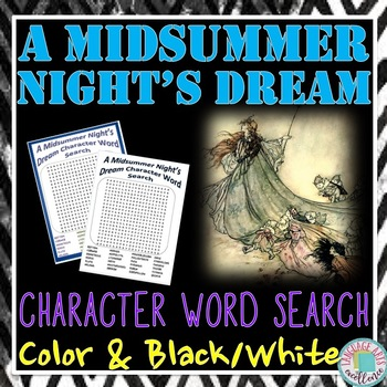 A Midsummer Night's Dream Character Word Search