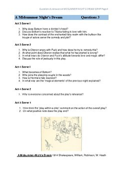 A Midsummer Night's Dream Comprehension Questions & Answers