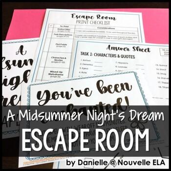 A Midsummer Night's Dream Escape Room Review Activity