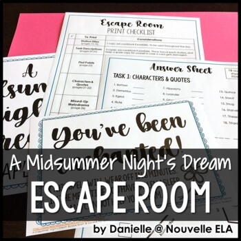 A Midsummer Night's Dream Escape Room Review Activity