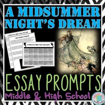 A Midsummer Night's Dream Essay Prompts & Rubric
