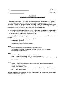 A Midsummer Night's Dream Paper Bag Book Report Project