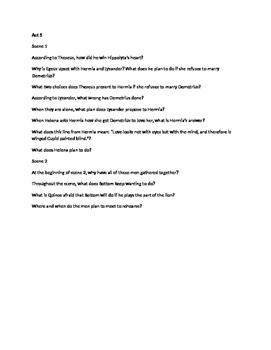 A Midsummer Night's Dream Quiz/Reading Question Bundle