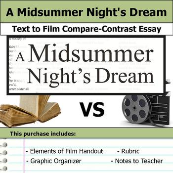 A Midsummer Night's Dream - Text to Film - Compare and Contrast Essay Bundle