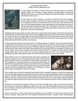 A Midsummer Night's Dream - The Story - Reading Comprehension Worksheet