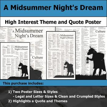 A Midsummer Night's Dream - Visual Theme and Quote Poster for Bulletin Boards
