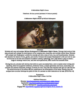 A Midsummer Night's Dream by William Shakespeare Unit Guid