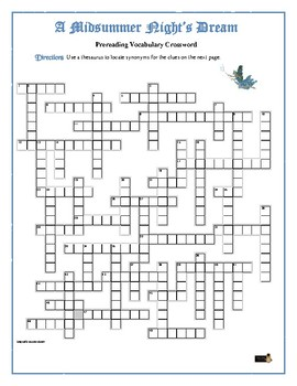 A Midsummer Night's Dream: 50-word Prereading Crossword—Use w/Bookmarks Plus!