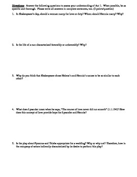 A Midsummer Night's Dream Act 1 Multiple Choice and Short Answer Quiz