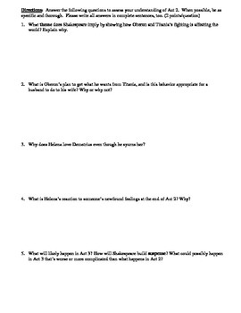 A Midsummer Night's Dream Act 2 Multiple Choice and Short Answer Quiz