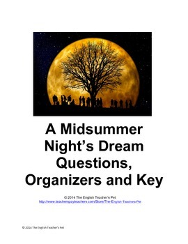A Midsummer Night's Dream Act Questions and Key
