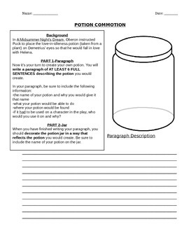 A Midsummer Night's Dream Activity-Create Your Own Potion